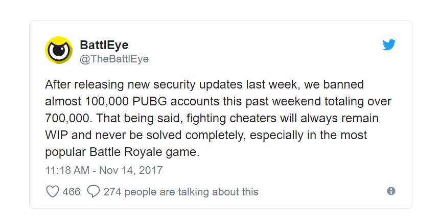 《绝地求生:大逃杀》上个月一共封禁了100万个作弊账号