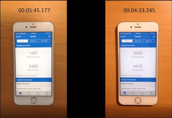 苹果iPhone 6s换电池前后运行速度对比:差距明显