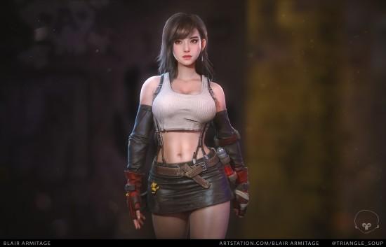 超高细节度《最终幻想7》性感蒂法 滑嫩肌肤质感爆棚