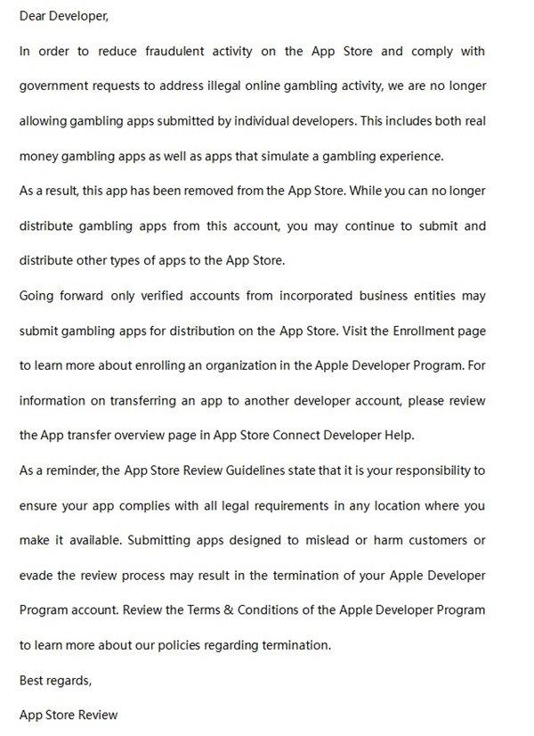 苹果清理App Store:个人开发者不得再发布涉赌应用