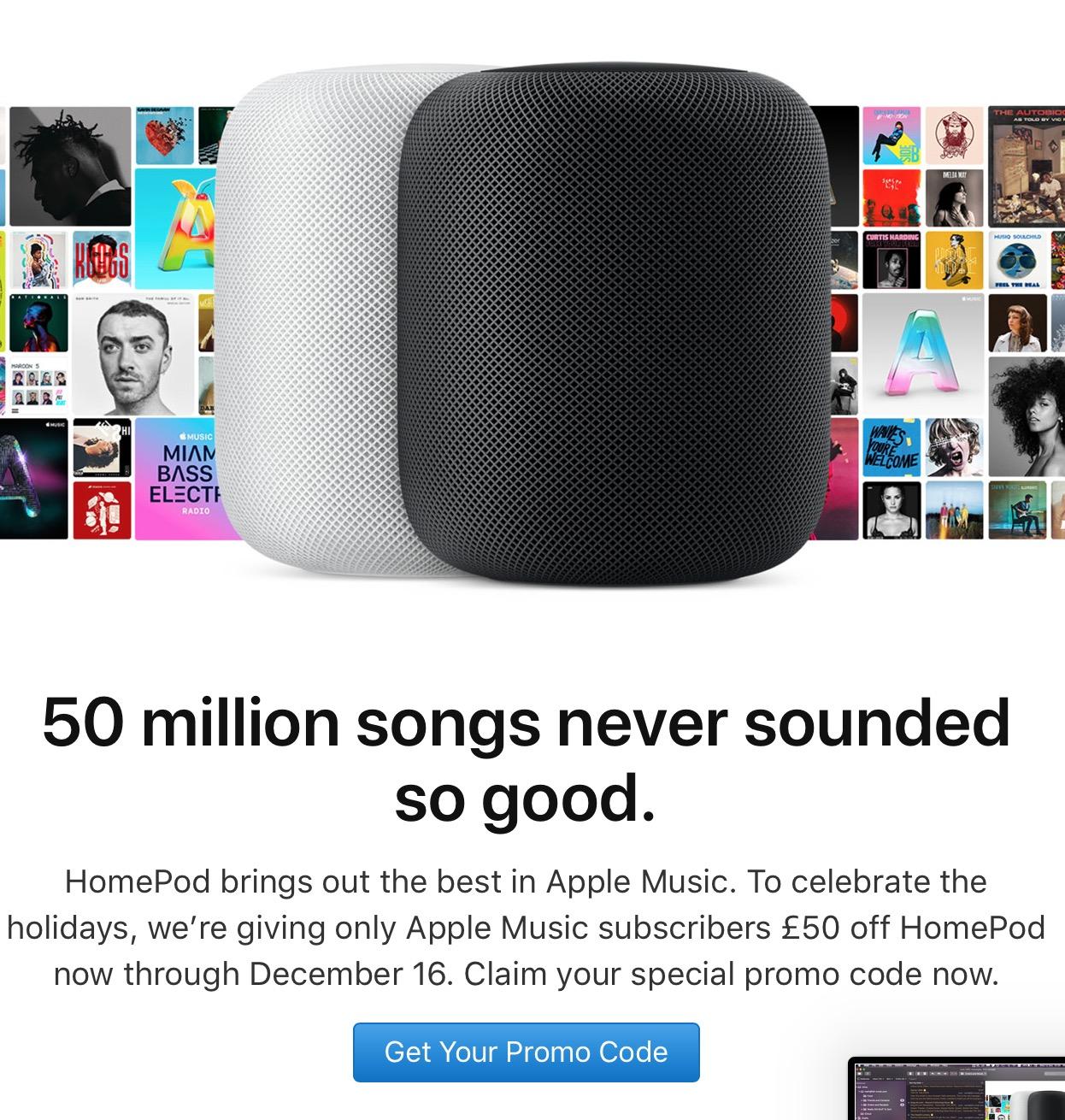 英国 HomePod 促销,Apple Music 订阅用户购买可减 50 英镑