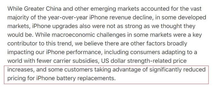 苹果:iPhone 销量不佳的原因之一是低价换电池服务