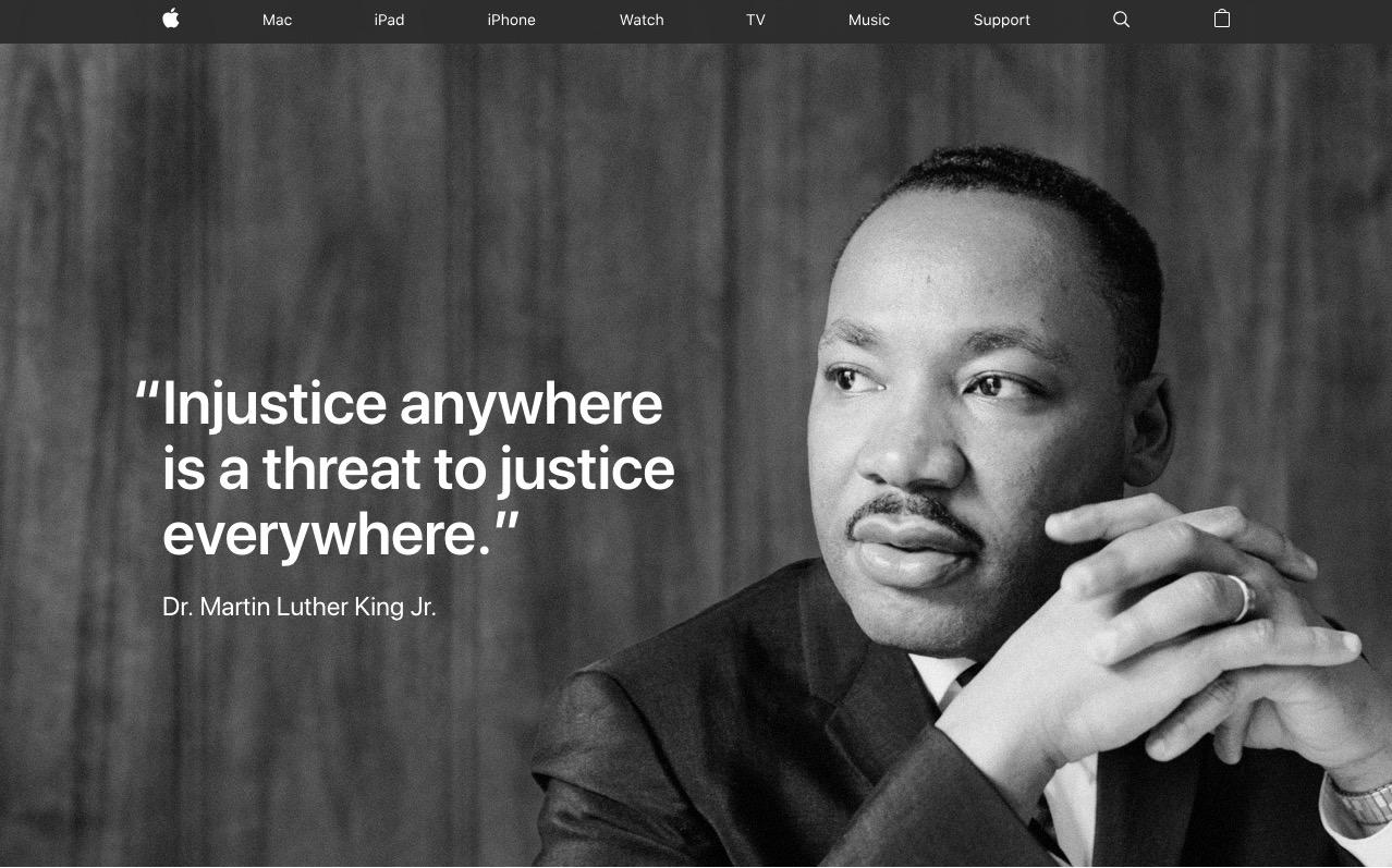 苹果(美国)官网主页更换全幅照片,纪念 Martin Luther King