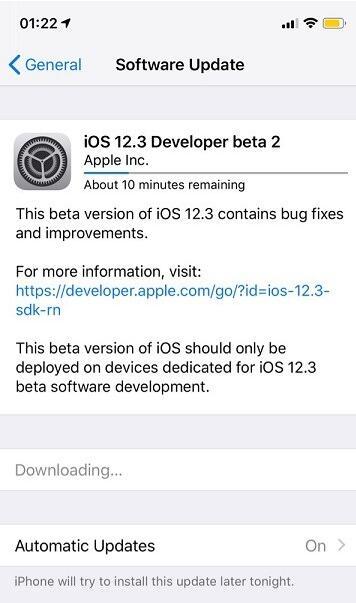 升级iOS 12.3 beta 2后还能降级吗?可降到哪些版本?