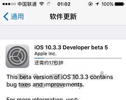 苹果iOS10.3.3 Beta5更新发布:继续修复Bug提升改进