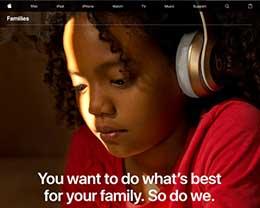 苹果官网推出Families页面:让家长更好地保障孩子的安全