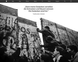 庆祝柏林墙倒塌 30 周年,苹果德国官网换上纪念图片