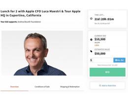 蘋果 CFO 拍賣慈善午餐,起拍價 1.05 萬美元
