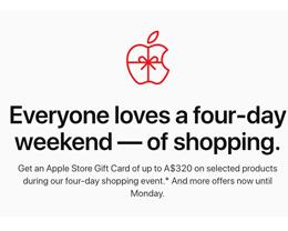 苹果澳大利亚「黑色星期五」促销计划公布,最高获赠 320 澳元礼品卡