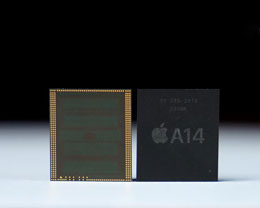 B 站 UP 主曝光苹果 A14 芯片(上盖)上手视频
