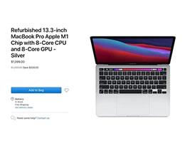 苹果开始销售搭载 M1 处理器的 MacBook Pro 13 官翻机