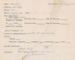 苹果前 CEO 史蒂夫・乔布斯 1973 年求职申请表曝光