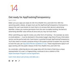 苹果提醒开发人员在 iOS 14.5 发布之前为应用跟踪透明度做好准备