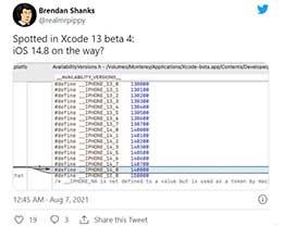 苹果 Xcode 开发工具显示,将有 iOS 14.8 版本