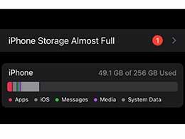 """升级 iOS 15 后,会出现""""iPhone 储存几乎满了""""的错误提示"""