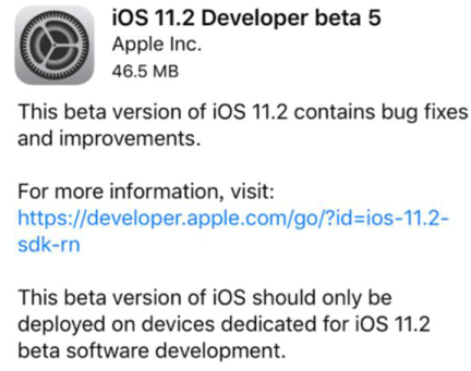 iOS11.2 Beta5更新了什么?iOS11.2 Beta5有什么新功能