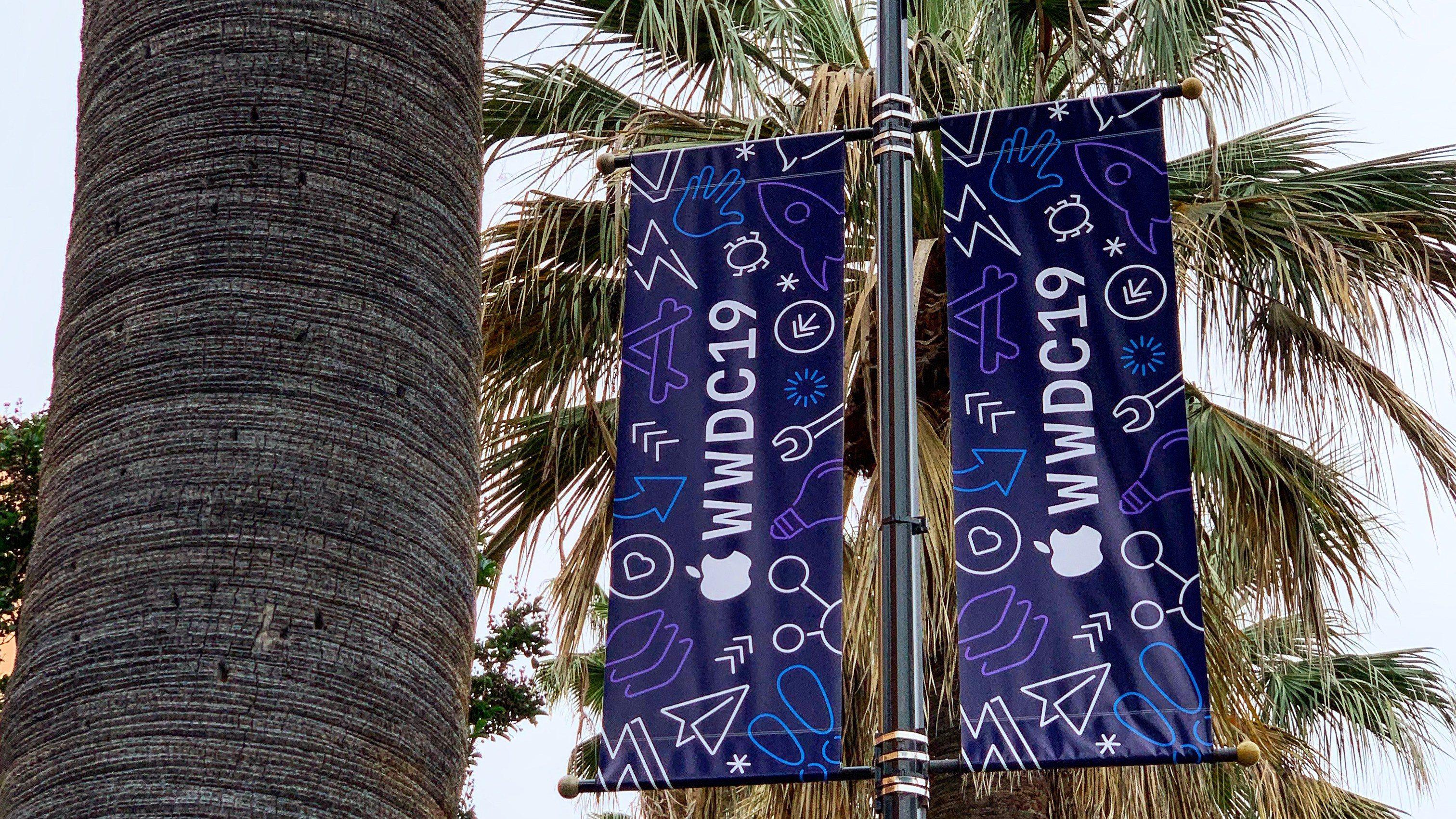 苹果装饰 WWDC 会场:各种霓虹灯风格