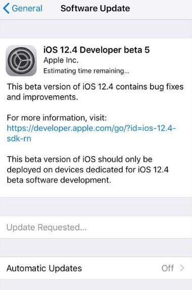 苹果发布 iOS 12.4 开发者预览版/公测版 Beta 5