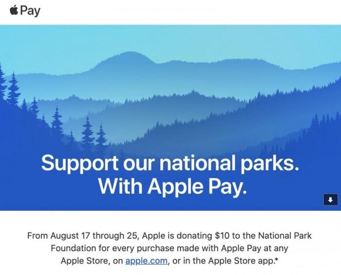Apple Pay 在美推广计划:每笔交易将向国家公园基金会捐赠 10 美元