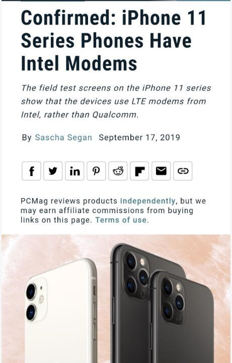 报告确认:美版 iPhone 11/Pro/Max 依旧搭载英特尔基带