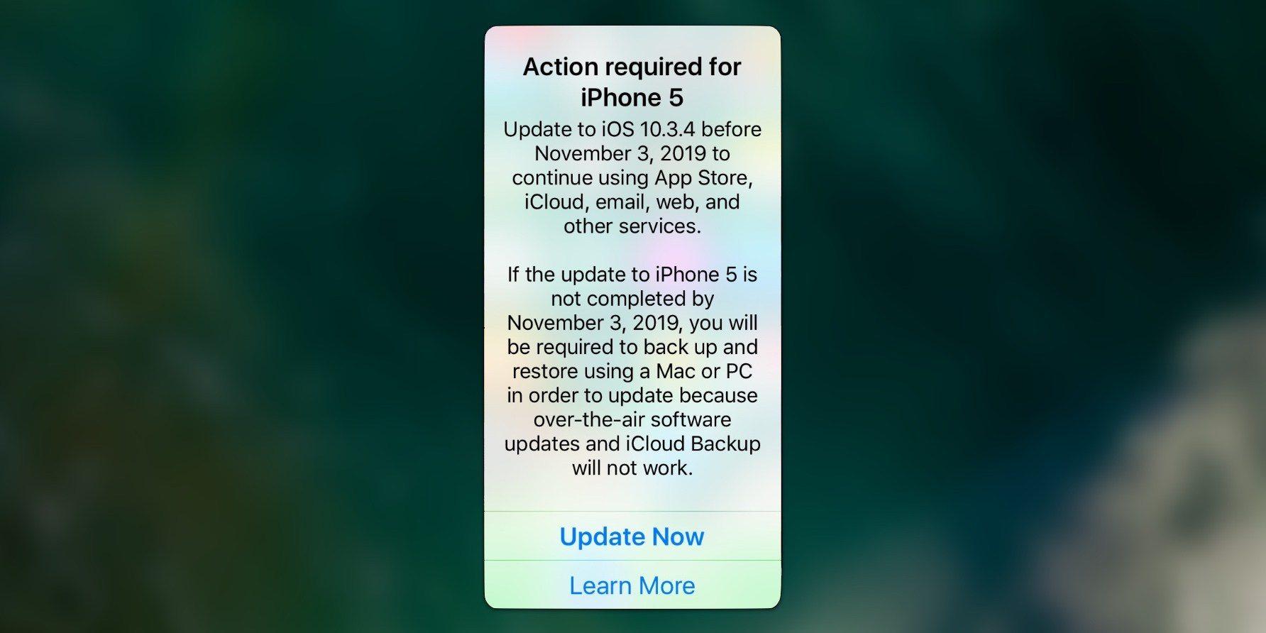 苹果官方发出通知:iPhone 5 用户需尽快更新到 iOS 10.3.4