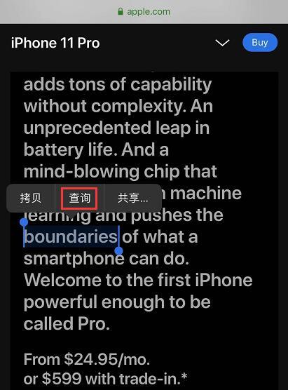 iPhone 自带翻译功能:只需长按两秒