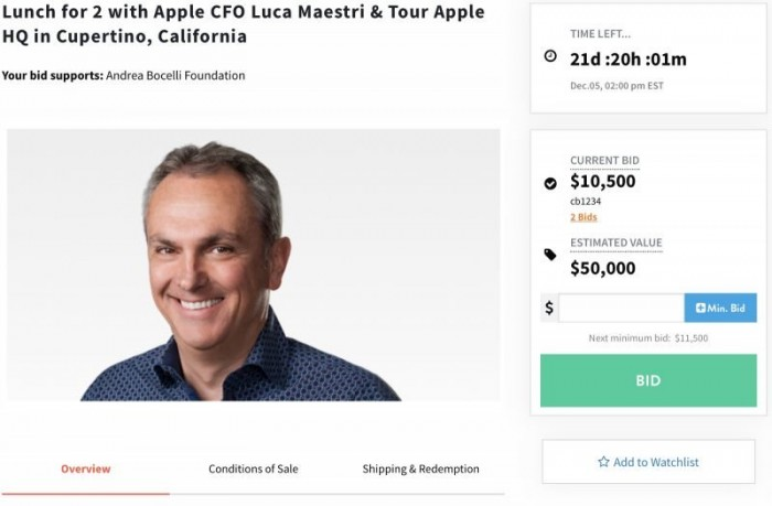 苹果 CFO 拍卖慈善午餐,起拍价 1.05 万美元