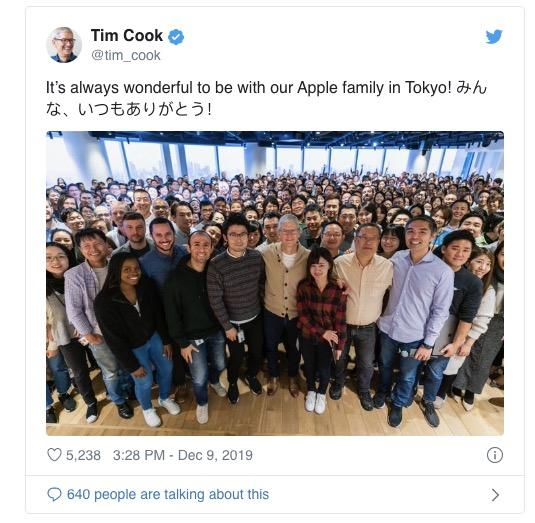 Tim Cook 访问日本,与开发者和员工会面