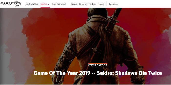 GameSpot评选2019年度最佳游戏:《只狼》获奖
