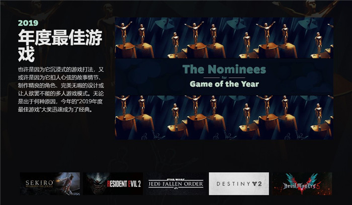 Steam年度游戏大奖提名公布 《只狼》或拿下双年度