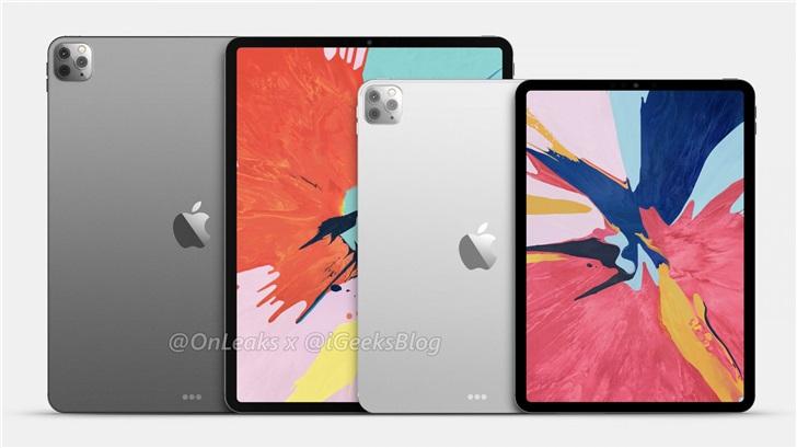 """苹果 2020 新款 iPad Pro 渲染图曝光:""""浴霸""""三摄,背板材质不同"""