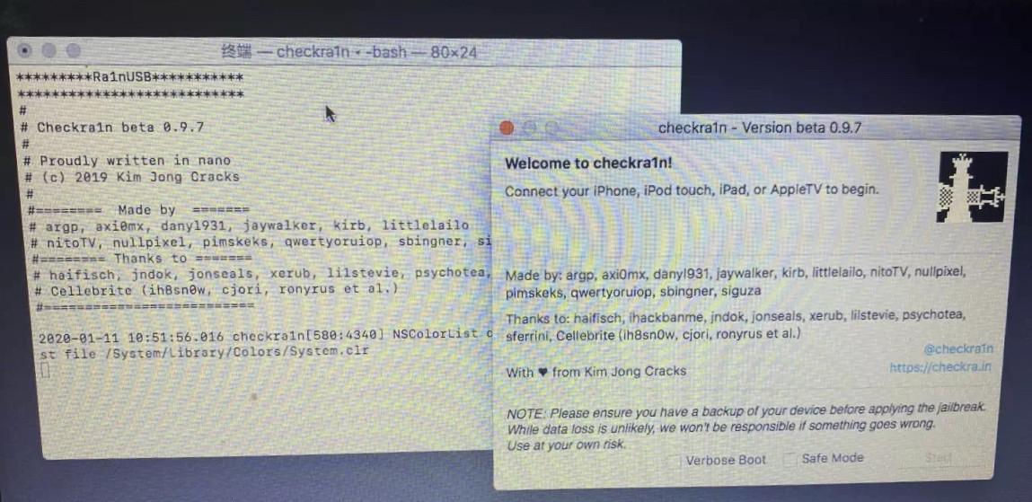 iOS 12.3 - iOS 13.X:Windows 版 CheckRa1n 越狱教程