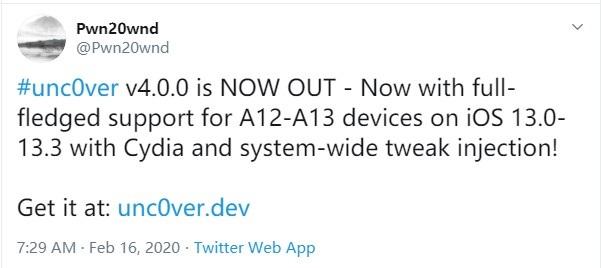 iOS 13-iOS 13.3 越狱发布:支持 iPhone 11/XS 系列机型