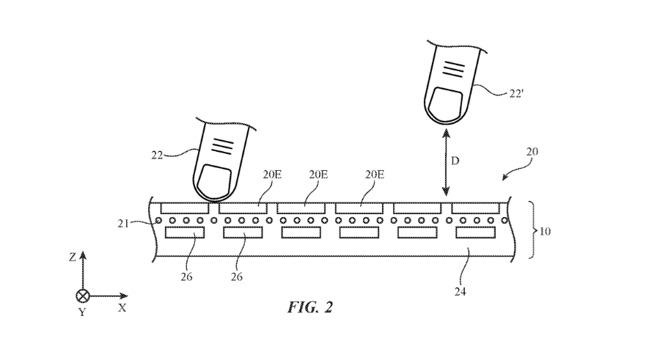苹果新专利显示将来 MacBook Pro 可检测到触控栏上方的空中手势