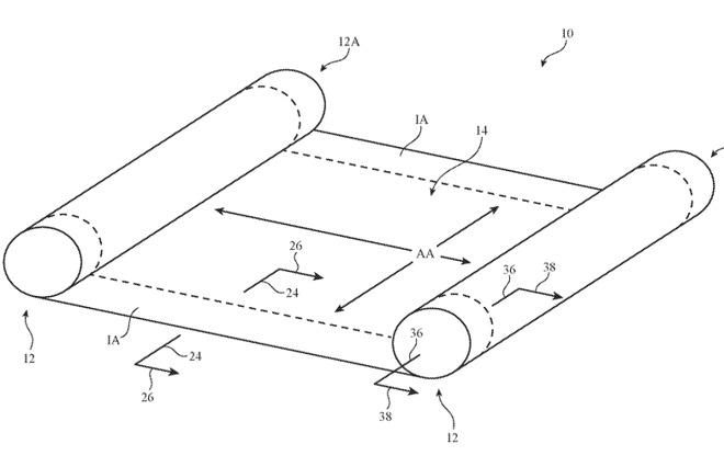 苹果新专利显示其正在开发卷轴式显示屏