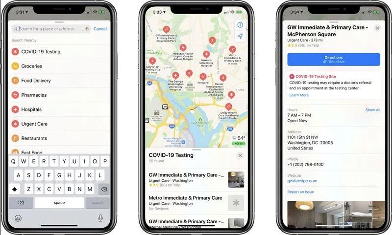 苹果地图开始显示美国新冠肺炎检测位置