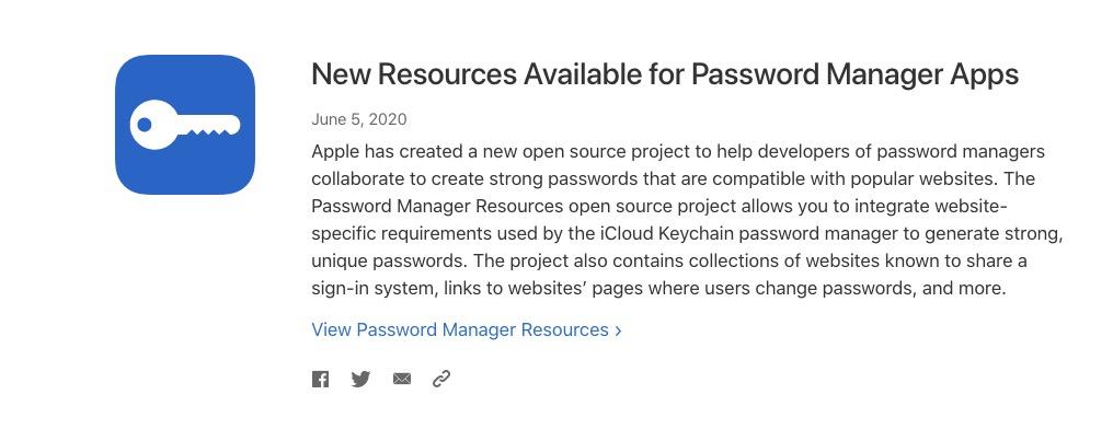 苹果推出全新开源项目,方便密码管理 App 创建强密码