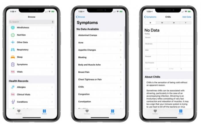 """iOS 13.6 Beta 版中的健康应用新增""""症状 """"版块"""