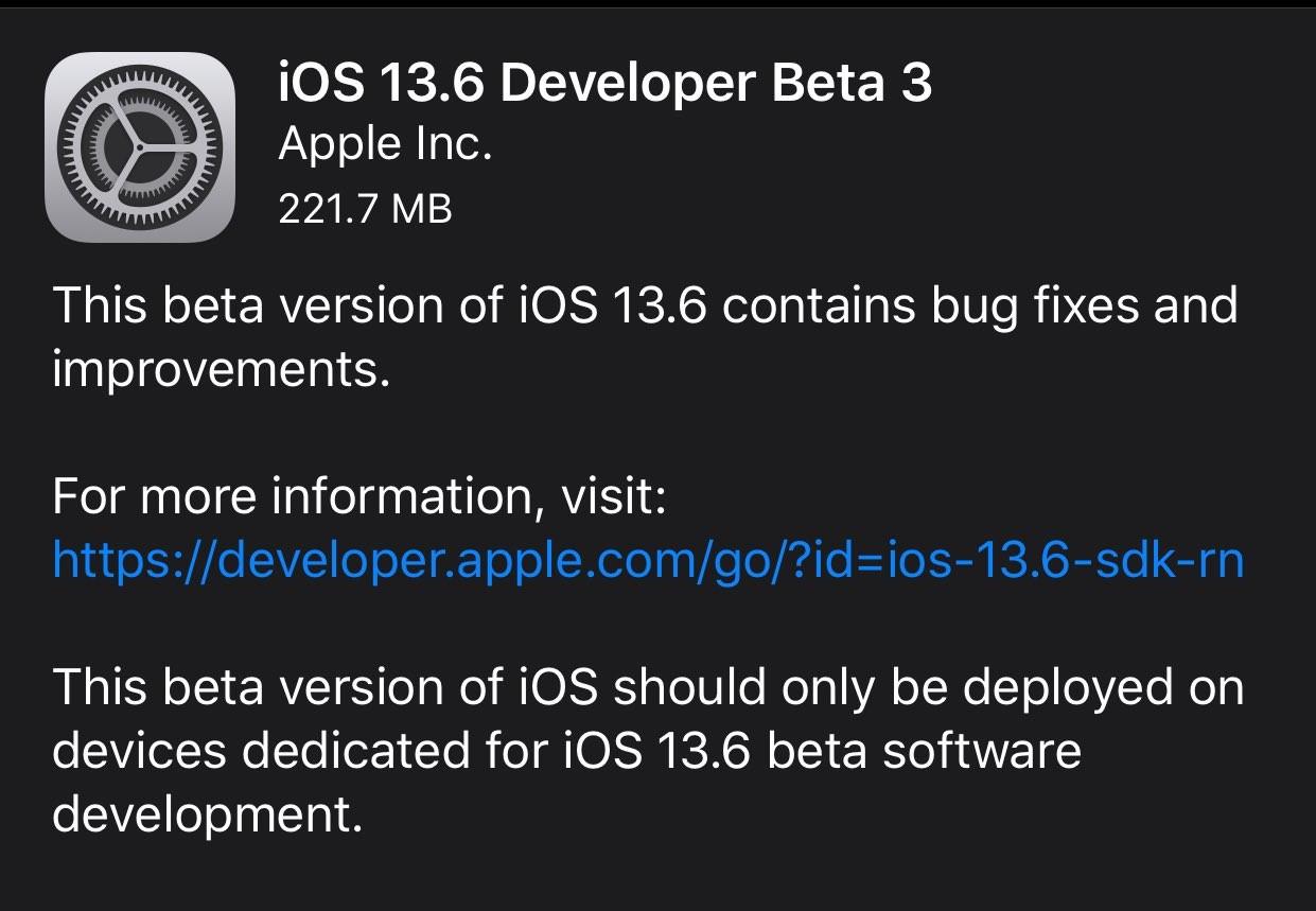 苹果发布了iOS和iPadOS 13.6开发者预览版3