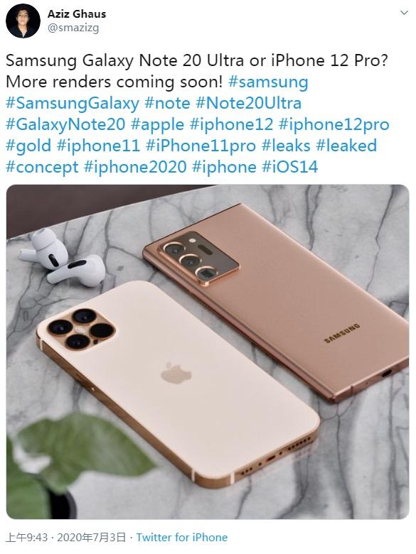 金色 iPhone 12 Pro Max & 古铜色三星 Note 20 Ultra 渲染图曝光