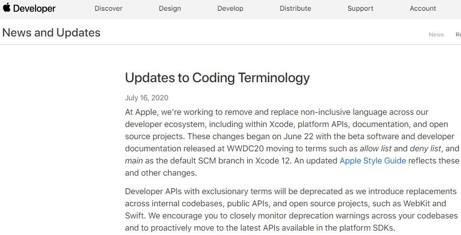 苹果通过 Apple Developer 网站宣布编码术语更新