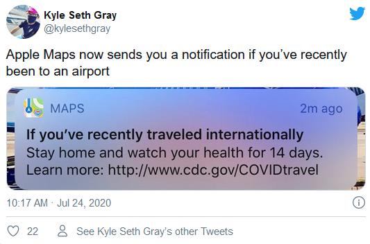 Apple Maps 开始提醒跨国旅行者注意当地隔离政策