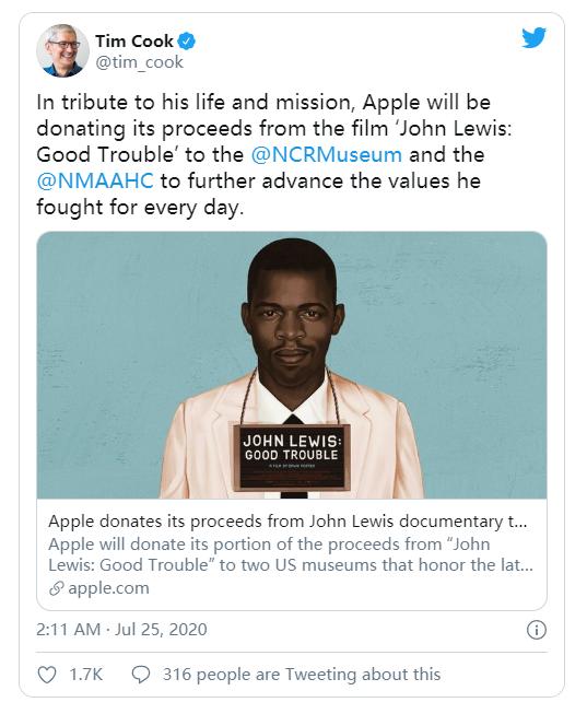 苹果公司将把约翰·刘易斯纪录片的收益捐给博物馆