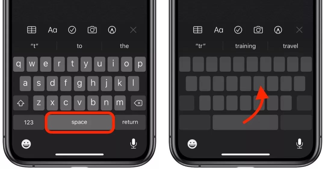 如何在 iPhone 11 键盘上使用虚拟触控板?