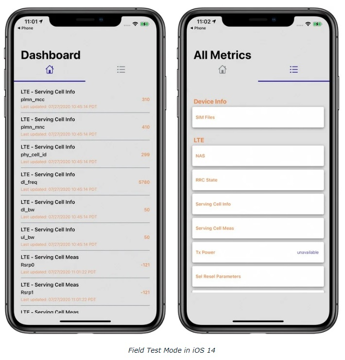 iOS 14 如何进入工程模式查看信号强度?