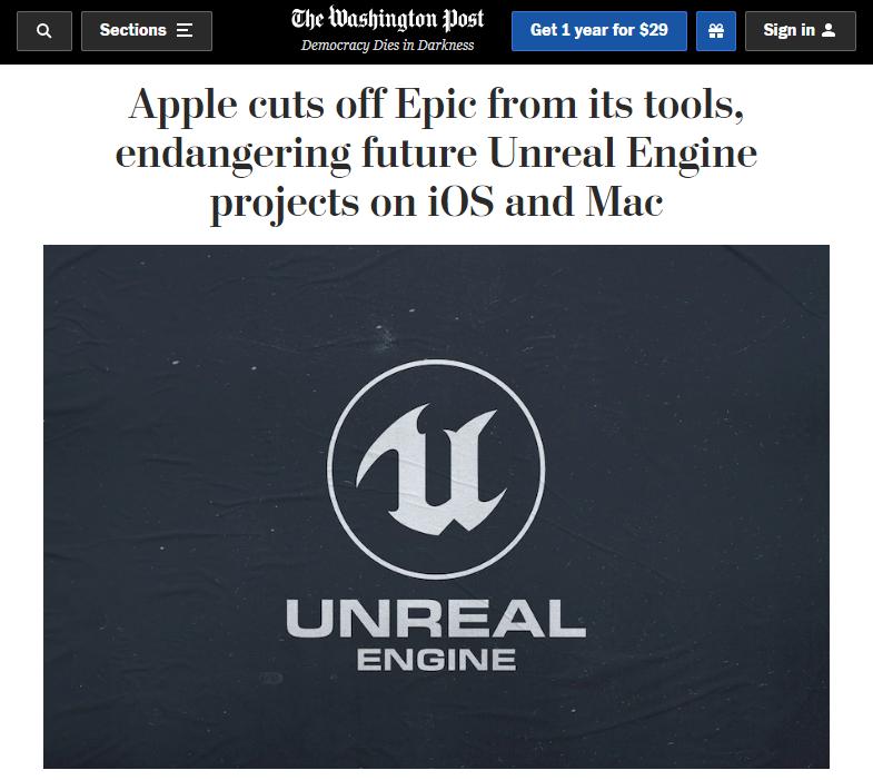 Epic真慌了,苹果iOS设备封杀虚幻引擎!UE开发者遭殃