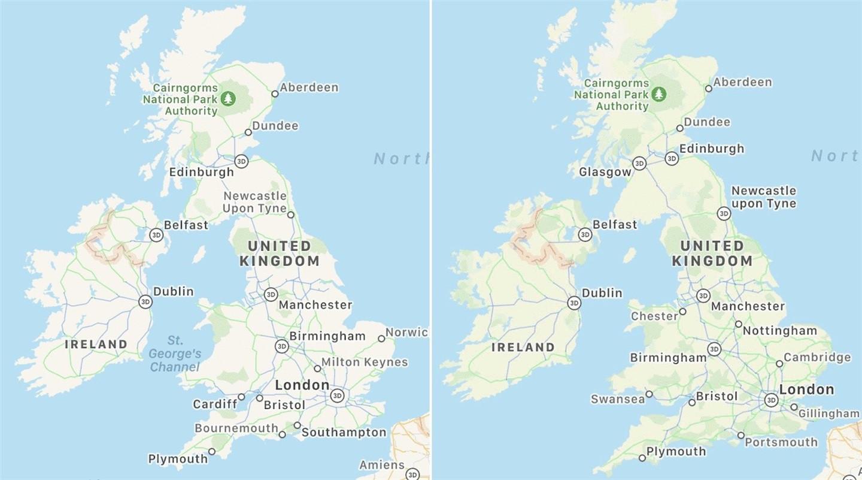苹果开始在英国、爱尔兰测试新改版地图应用