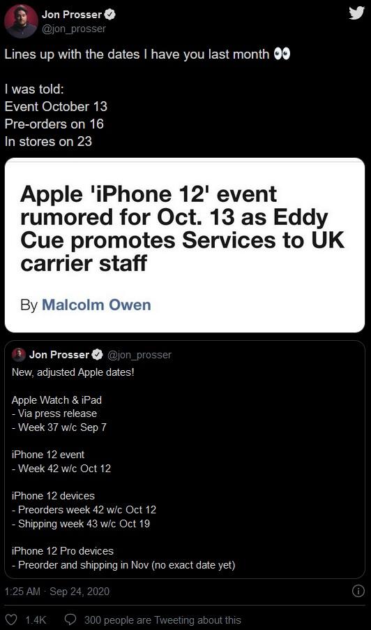 消息人士确认苹果 10 月 13 日发布 iPhone 12,Pro 系列晚些时候到货