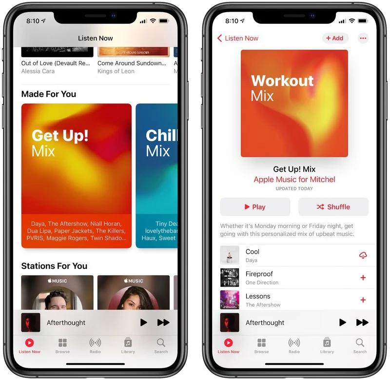 Apple Music 将「Get Up!」歌单 重命名为 「Workout」
