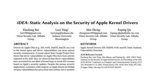 阿里安全技术检出多个苹果系统高危漏洞,研究论文被国际顶会收录